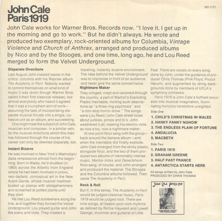 Song of the Week 58: Paris 1919 – John Cale – The Song of